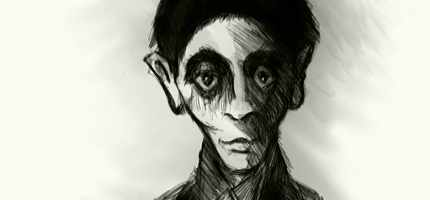 Franz Kafka, illustration by Anthony Hare, 2007.