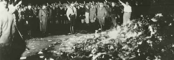 "In 1933, led by Joseph Goebbels, 40,000 people, many of them students, gathered in Berlin to burn books that were ""un-German."""