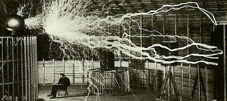 Nikola Tesla, 1899, in Colorado Springs, experimenting with enormous amounts of electricity.