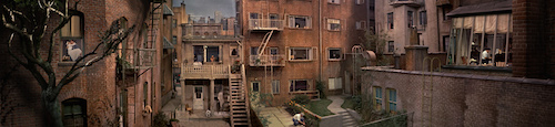 A panoramic shot of the apartment complex. Each window holds a different story.