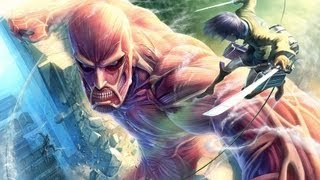 Eren in battle with a Colossal Titan