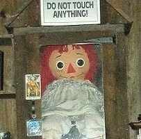 The real Annabelle doll located in the Warrens' museum