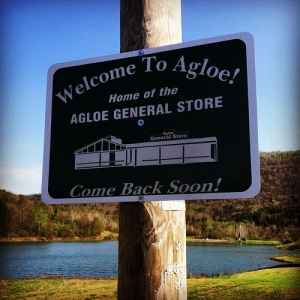 A sign for the General Store in Agloe, New York that made it become a real town, inside of just one on paper.