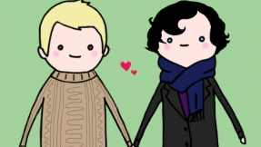 """Above: an illustration of the """"Johnlock"""" ship, moments before the dialogue below."""