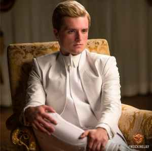 Peeta looks prim and proper for the camera