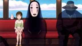 Chihiro traveling to Zeniba's home with her friends by train.