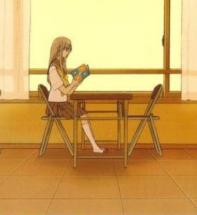 Aoi sitting by herself; her usual routine
