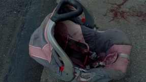 "Baby Judith's bloody car seat in ""Too Far Gone."""