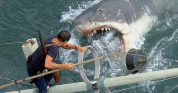 Brody, the vulnerable hero, fights the shark in Jaws.