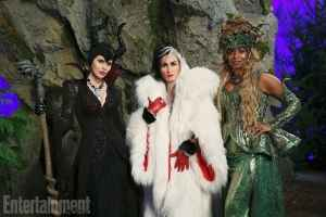 Once Upon a Time's Queen of Darkness: Kristin Bauer Van Straten as Maleficent, Victoria Smurfit as Cruella de Vil, andMerrin Dungey as Ursula