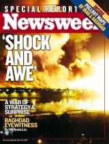 "Newsweek cover from 2003 highlighting the use of ""Shock and Awe"" in Iraq"