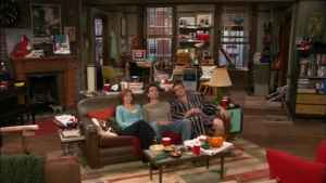 Ted, Marshall and Lily sitting the the apartment.