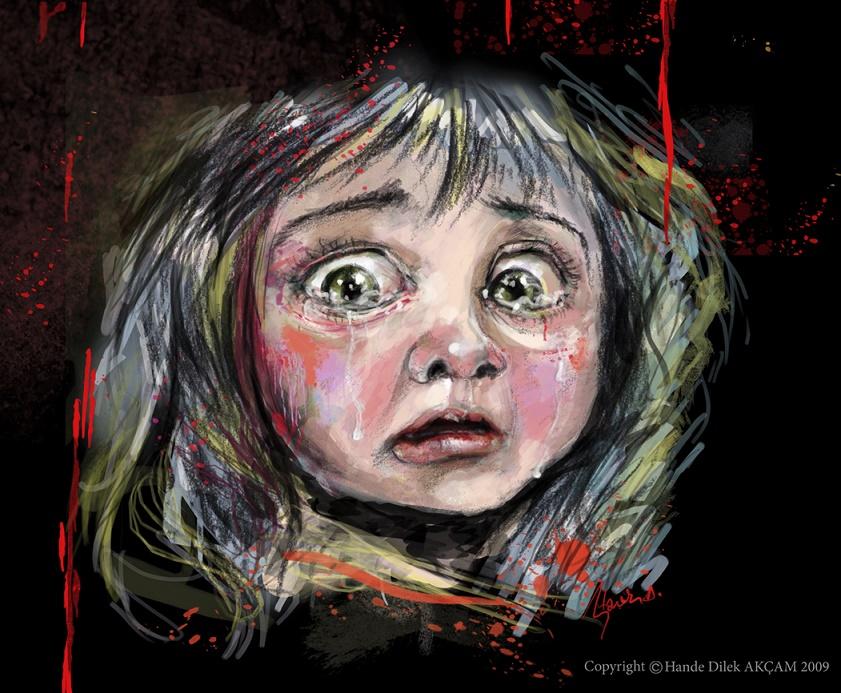 Child Abuse Illustration Girl Crying