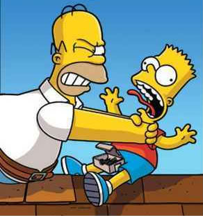 Homer Simpson choking son Bart Simpson in The Simpsons Movie
