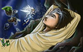 Illustration of Queen Mab and a sleeping man.