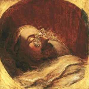 A painting of Queen Man entering a sleeping man's mind.