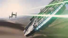 The Millennium Falcon fights Tie Fighters in the teaser trailer