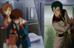 Amuro receives the first Bright Slap of all time.