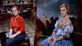 Midge Wood paints herself into the portrait of Carlotta Valdes in Vertigo