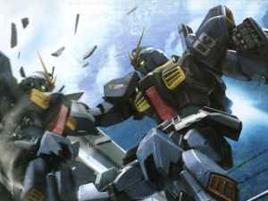 Two Gundam Mk II fighting, both of which are stolen at least once during the season.