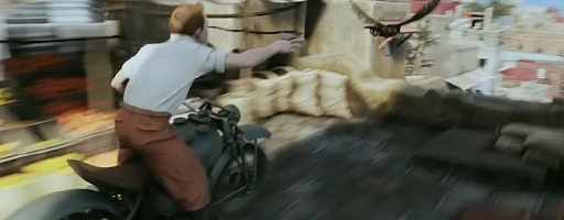 Tintin chases a hawk through the streets of Bagghar, a crazy scene that cannot be imagined in live-action.