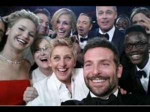 "This group selfie by Bradley Cooper, posted on Twitter by Ellen DeGeneres, captioned ""If only Bradley's arm was longer. Best photo ever. #oscars (sic)"" became a blast with over 3 million re-tweets."