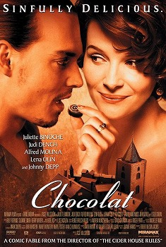 Juliette Binoche hand-feeding chocolate to Johnny Depp in the film poster for Chocolat
