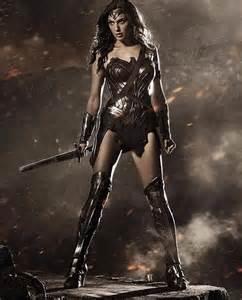 Gal Godot dressed as Wonder Woman for Batman V. Superman: Dawn of Justice