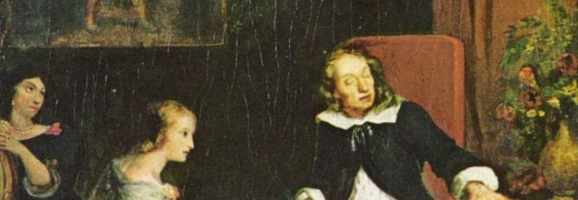 "A painting of the blind Milton dictating ""Paradise Lost"" to his daughters."