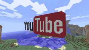 The YouTube logo recreated in Minecraft.