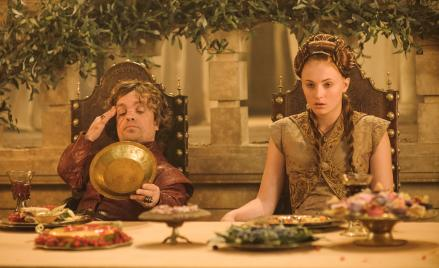 Tyrion Lannister (Peter Dinklage) and Sansa Stark (Sophie Turner) far from enjoying their wedding feast.