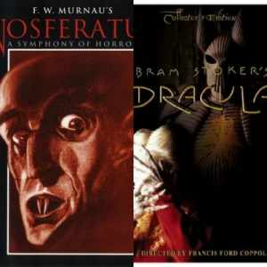 Left - Nosferatu movie cover. Right - Dracula movie cover