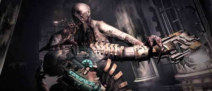 A Necromorph grabs Isaac in this screenshot from Dead Space 2.