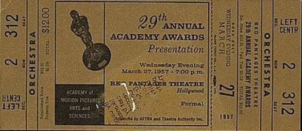 Ticket to the 29th Annual Academy Awards