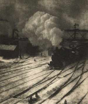 "An example of a gum bichromate print: ""New York Central Yard"" (1910) by Alfred Stiegtliz"
