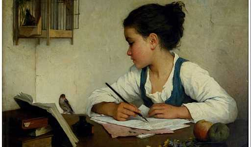 A Girl Writing; A Pet Goldfinch. Henriette Brown (1870). Oil on canvas.