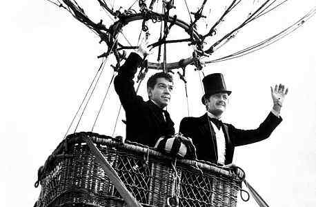 "David Niven (right) and Cantinflas share a hot air balloon in ""Around the World in Eighty Days."" The film was selected by Oscar voters as the best film of 1956."