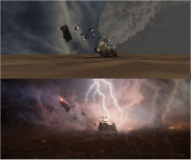 Top: CG model of War Boys being ripped from their vehicle. Bottom: final frame.