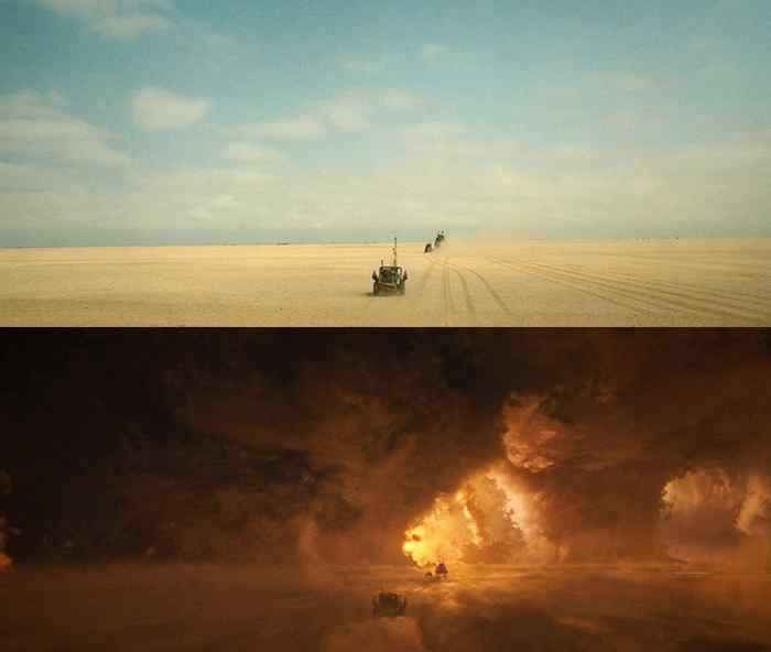 Vehicles filmed in the desert are inserted into the storm.