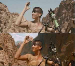 Top: Furiosa wearing a green sleeve. Bottom: Furiosa's arm is edited out and replaced with a metal shaft.