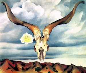 """Ram's Head White Hollyhock and Little Hills"" (1935) by Georgia O'Keeffe"