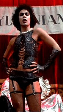 Frank N. Furter makes his grand entrance.  Not a sight the uninitiated are comfortable with.