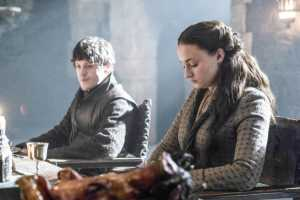 "Sansa (right) sits next to Ramsay  (left)  in the episode ""Kill the Boy"""