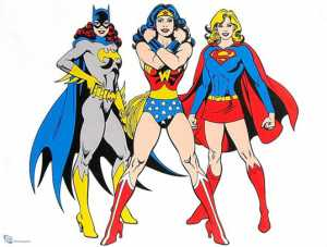 Image features: Batgirl, Wonder Woman, and Supergirl from Left to Right