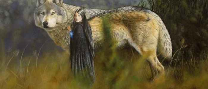 Luthien and the great hound Huan.