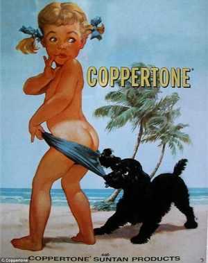 A  1950s Coppertone sunscreen ad