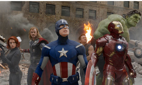"From left to right: Black Widow, Thor, Captain America, Hawk Eye, Iron Man, and The Hulk in ""The Avengers"""