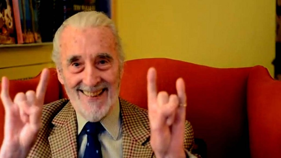 Christopher Lee showing his inner heavy metal side.