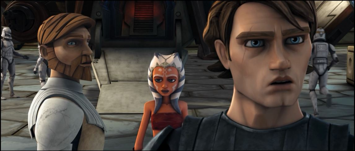 "From left to right: Obi-Wan Kenobi, Anakin Skywalker, and his apprentice, Ahsoka Tano, in ""The Clone Wars"""