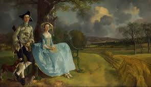 Mr and Mrs. Andrews by Thomas Gainsborough, bourgeois family showing land, acquisitions and their name.